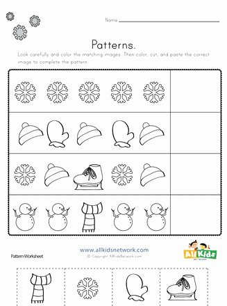Kindergarten Worksheets Cut and Paste Kids Winter Cut and Paste Patterns Worksheet