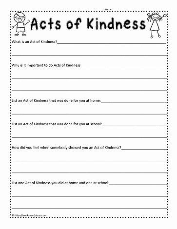 Kindness Worksheets for Elementary Students Fresh Act Of Kindness Worksheetworksheets