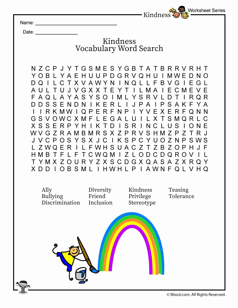 Kindness Worksheets for Elementary Students Fresh Classroom Kindness & Inclusion Vocabulary Word Search