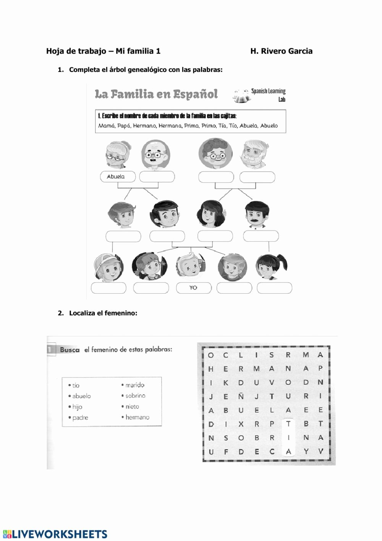 La Familia Worksheet In Spanish Free A1a2 Mi Familia 01 Interactive Worksheet