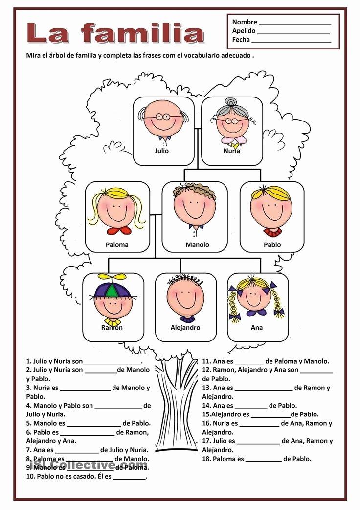 La Familia Worksheet In Spanish Inspirational La Familia