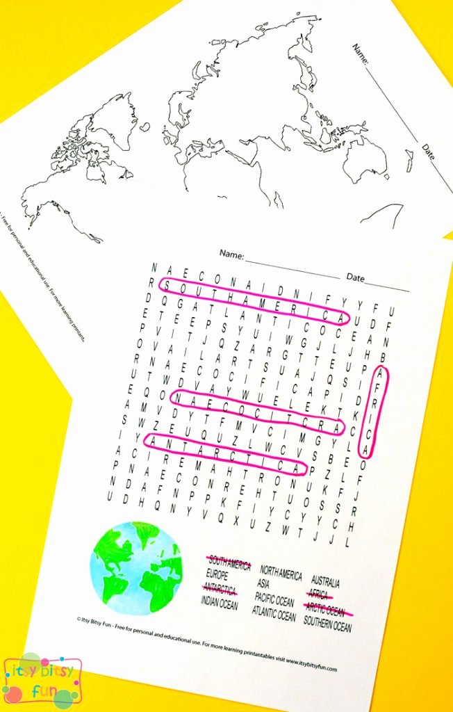 Label Continents and Oceans Printable Free Continents and Oceans Worksheets Free Word Search Quiz