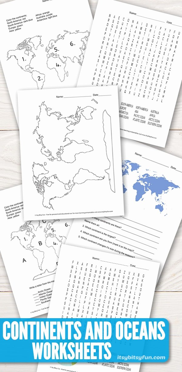 Label Continents and Oceans Printable Ideas Continents and Oceans Worksheets Free Word Search Quiz