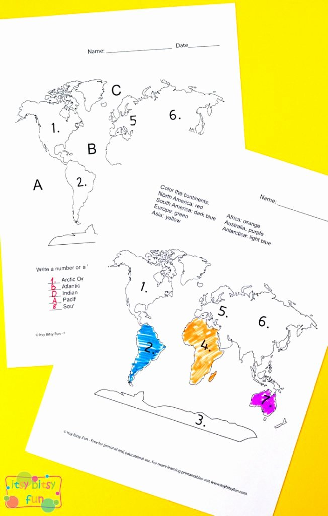 Label Continents and Oceans Printable Kids Continents and Oceans Worksheets Free Word Search Quiz