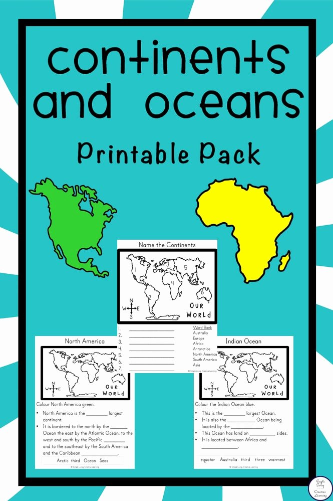 Label Continents and Oceans Printable Printable Free Continents and Oceans Printable Pack Simple Living