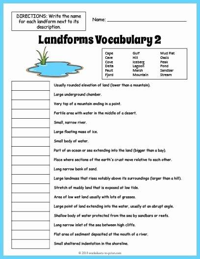Landform Worksheets for 2nd Grade Lovely Different Landforms Worksheets