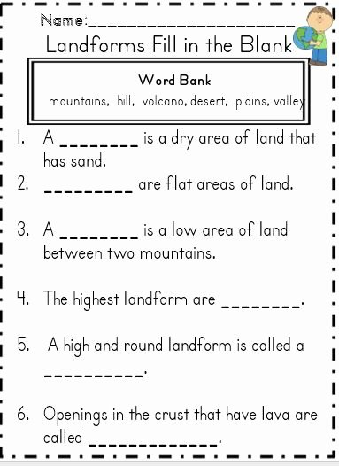 Landform Worksheets for 2nd Grade New Landforms & Bo S Of Water Geography Unit