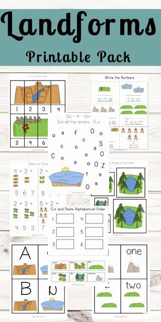 Landform Worksheets for 2nd Grade Printable Landforms Printable Pack