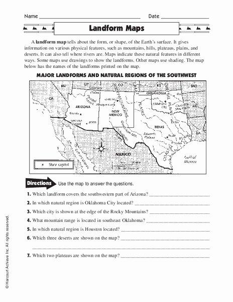 Landforms Worksheets for 5th Grade Fresh Landform Maps Worksheet for 3rd 5th Grade