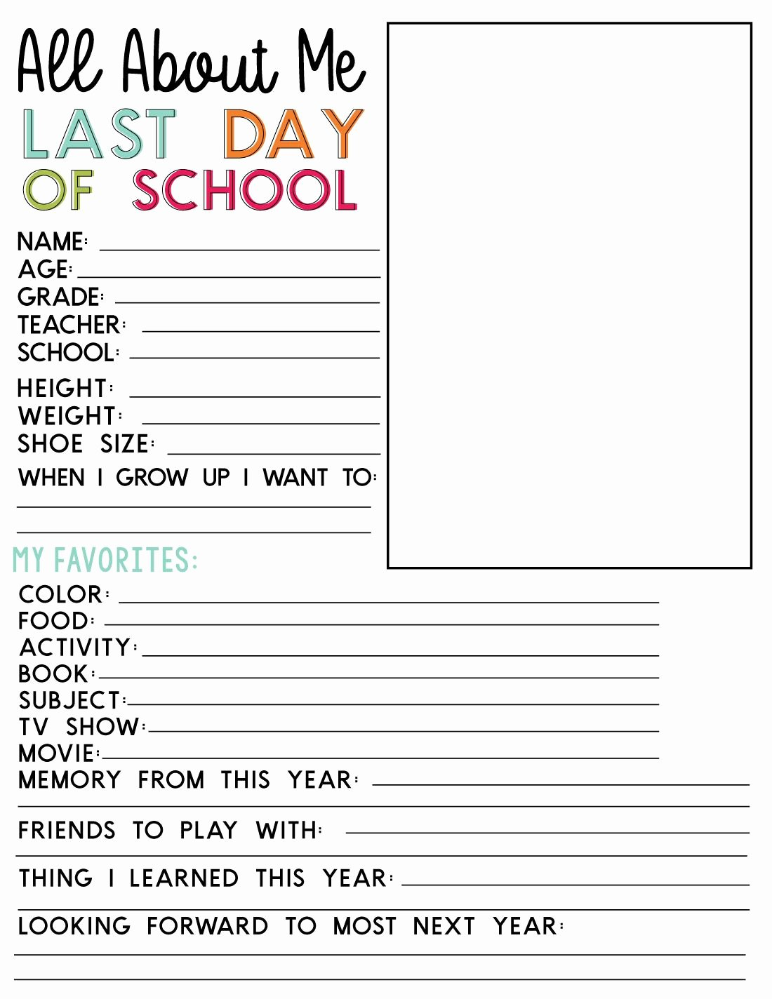 Last Days Of School Worksheets Printable Last Day Of School Printable Fill In Sheet