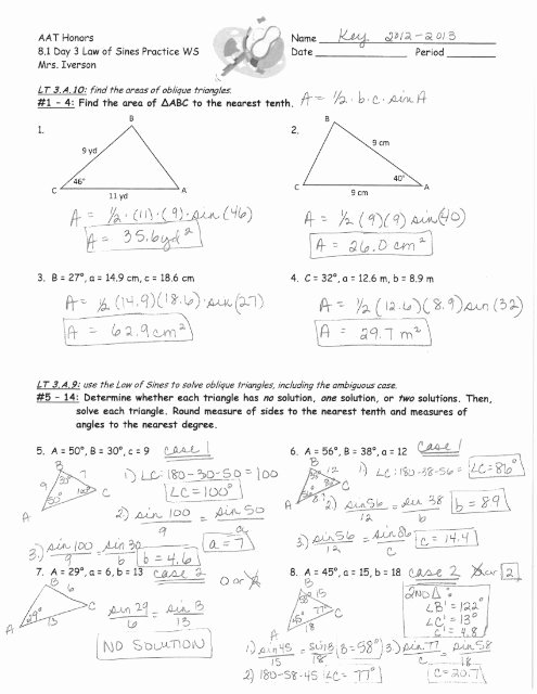 Law Of Sines Worksheet Answers Best Of 8 1 Day 3 Law Of Sines Practice Ws Answer Key 2012 2013 Pdf