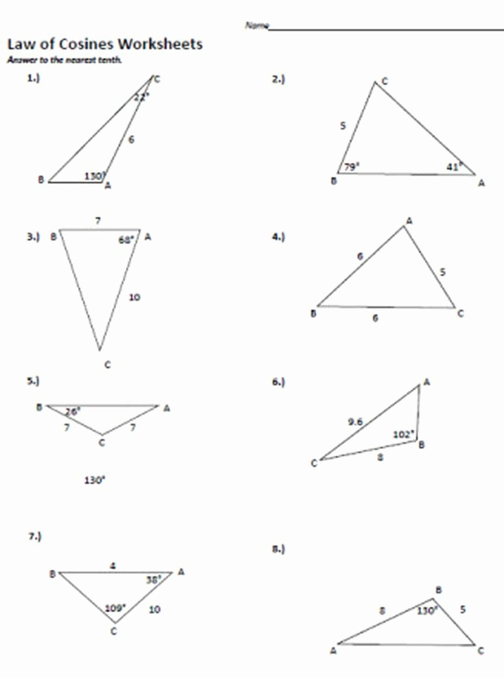 Law Of Sines Worksheet Answers Best Of Law Of Cosine to Figure area Of A Triangle