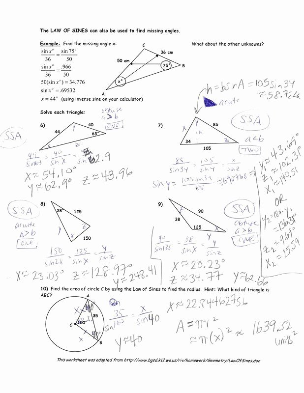 Law Of Sines Worksheet Answers New 50 Law Sines Worksheet Answers In 2020