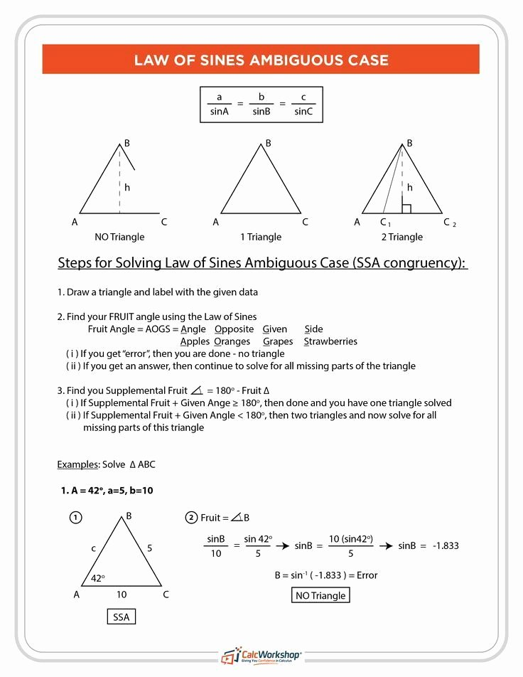 Law Of Sines Worksheet Answers Printable Law Of Sines Ambiguous Case Fruit Method