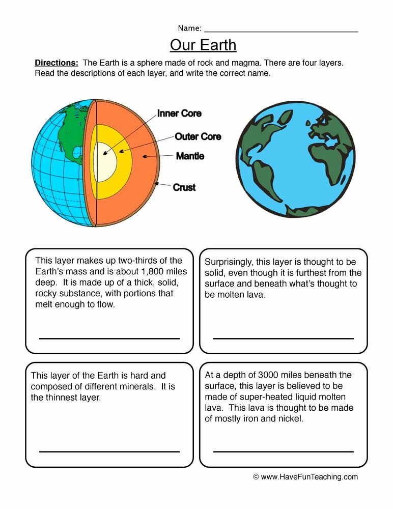 Layers Of the Earth Worksheet Best Of Earth Layers Worksheet