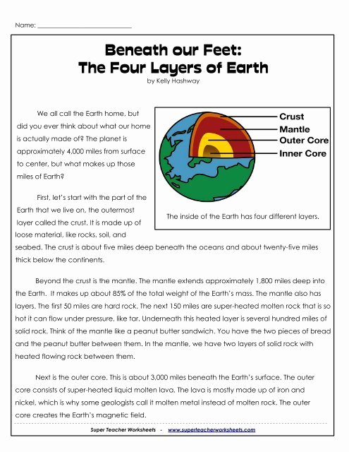 Layers Of the Earth Worksheet Fresh Beneath Our Feet the Four Layers Of Earth Super Teacher