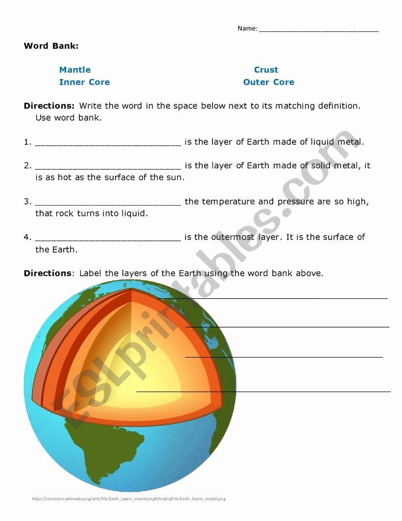 Layers Of the Earth Worksheet Inspirational Layers Of the Earth Worksheet Esl Worksheet by isamayra86
