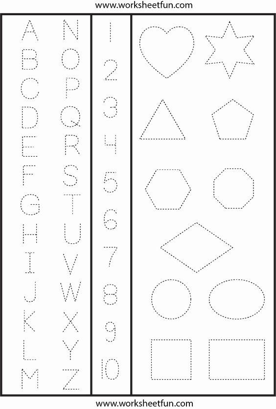 Letter and Number Tracing Worksheets Ideas Letters Numbers and Shapes Tracing Worksheet
