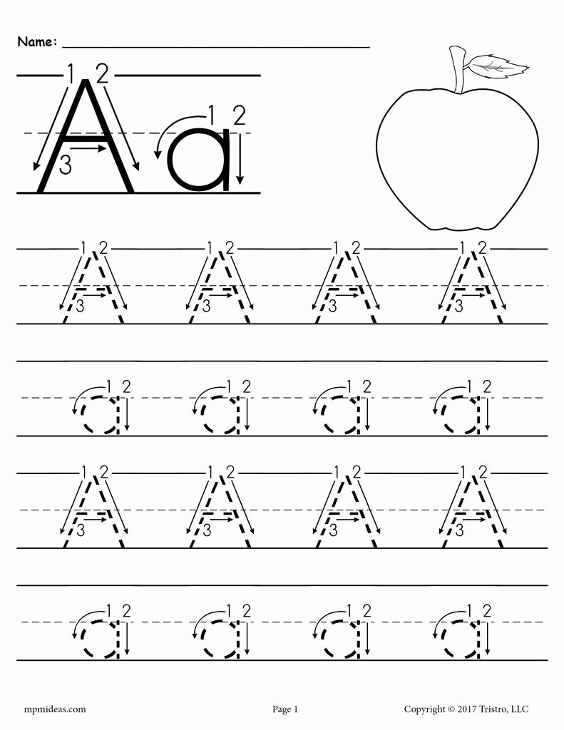 Letter and Number Tracing Worksheets Kids Printable Letter A Tracing Worksheet with Number and Arrow Guides