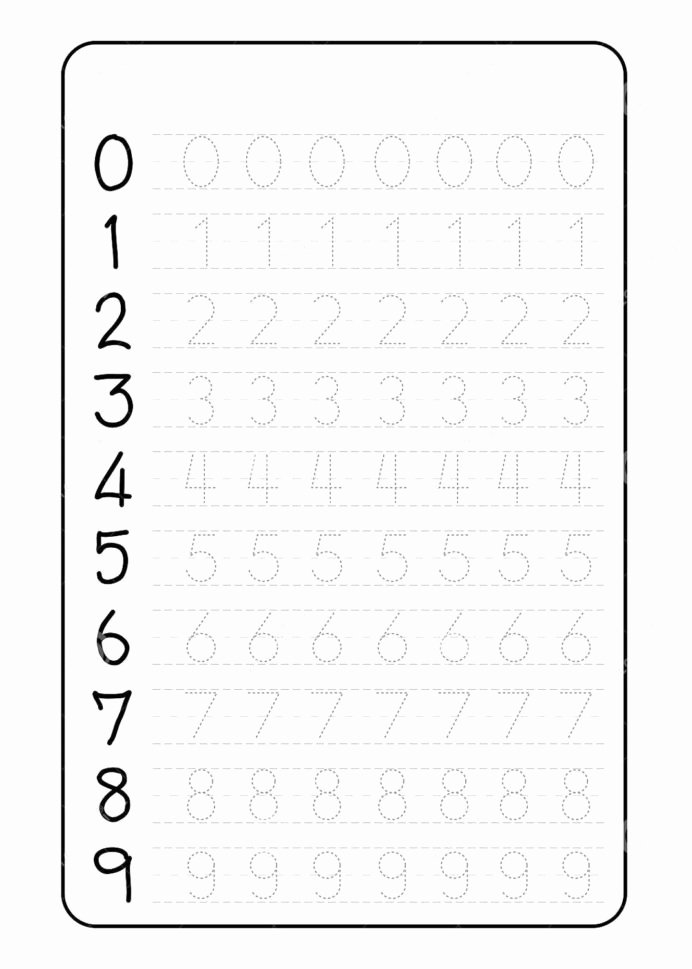 Letter and Number Tracing Worksheets New Number Trace Worksheets Tracing for Preschool Grade Word