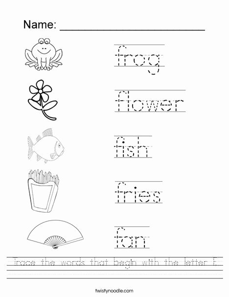 Letter F Worksheets for toddlers Kids Trace the Words that Begin with the Letter F Worksheet