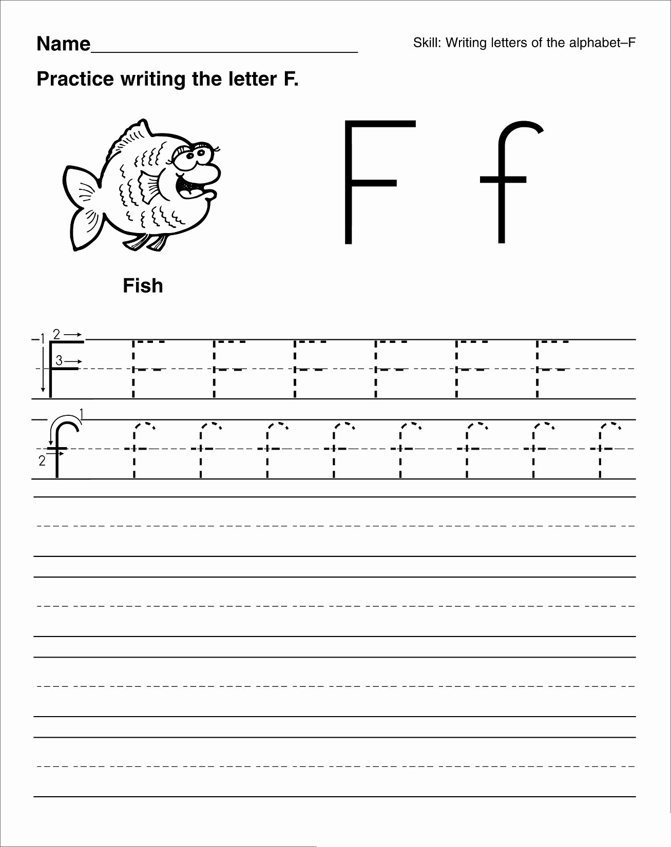 Letter F Worksheets for toddlers Kids Worksheets Math Worksheet Printing Letters Worksheets