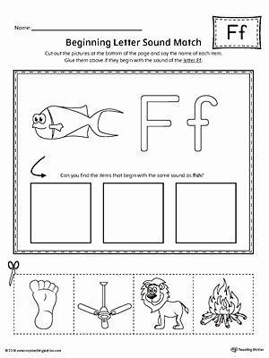 Letter F Worksheets for toddlers New Letter F Beginning sound Picture Match Worksheet