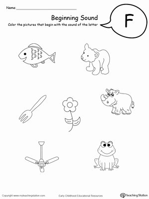 Letter F Worksheets for toddlers Printable Beginning sound Of the Letter F