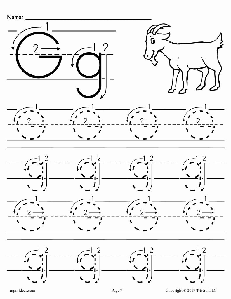 Letter G Tracing Worksheets Preschool Free Printable Letter G Tracing Worksheet with Number and Arrow Guides