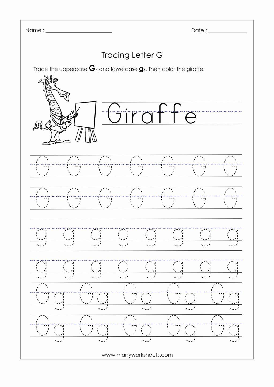 Letter G Tracing Worksheets Preschool New Worksheet Kindergarten Tracing Worksheets Letter G