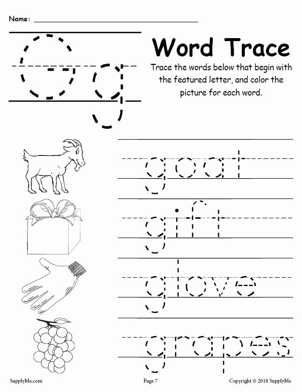 Letter G Tracing Worksheets Preschool top Letter G Words Alphabet Tracing Worksheet