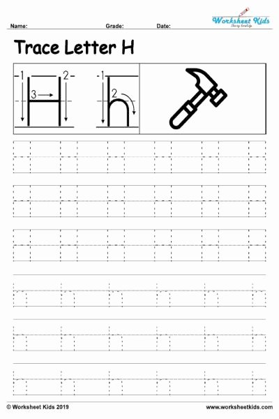 Letter H Tracing Worksheets Preschool Best Of Letter H Alphabet Tracing Worksheets Free Printable Pdf