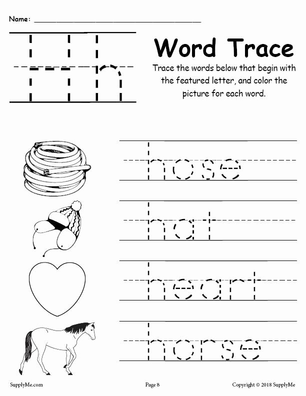 Letter H Tracing Worksheets Preschool Inspirational Coloring Pages Letter H Words Alphabet Tracingsheet