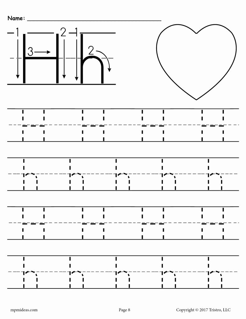 Letter H Tracing Worksheets Preschool New Printable Letter H Tracing Worksheet