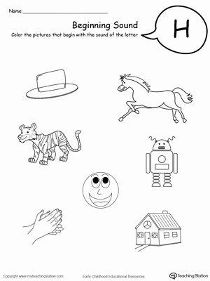 Letter H Worksheets for Kindergarten Fresh Beginning sound Of the Letter H