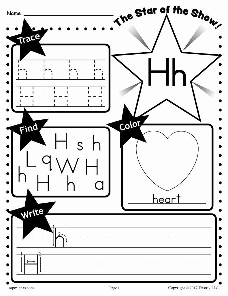 Letter H Worksheets for Kindergarten top Letter H Worksheet Tracing Coloring Writing & More