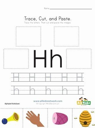 Letter H Worksheets for Preschool Printable Trace Cut and Paste Letter H Worksheet