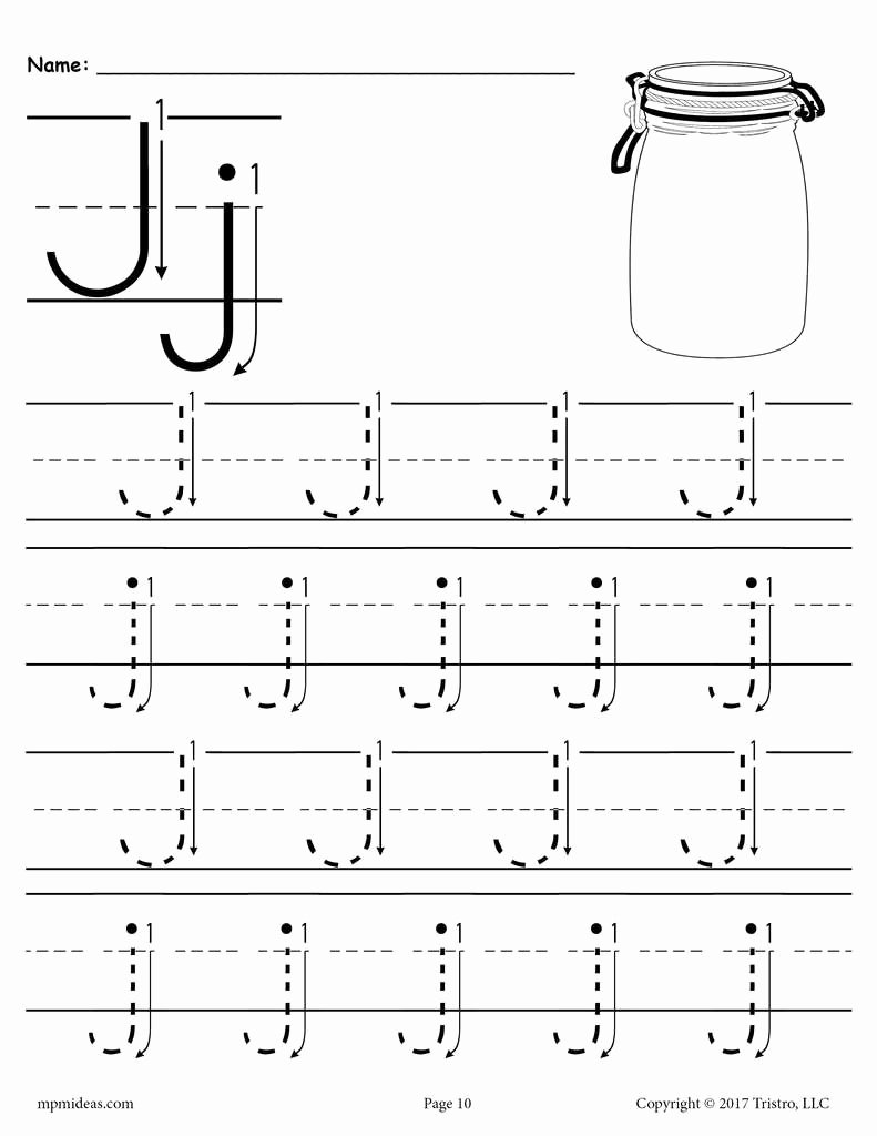 Letter J Tracing Worksheets Preschool Ideas Free Printable Letter J Tracing Worksheet with Number and