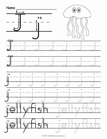Letter J Tracing Worksheets Preschool Kids Free Printable Tracing Letter J Worksheet