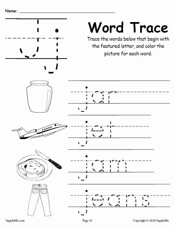Letter J Tracing Worksheets Preschool Printable Letter J Words Alphabet Tracing Worksheet