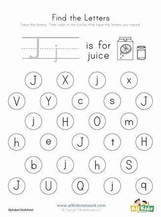 Letter J Worksheets for Preschool Best Of Find the Letter J Worksheet