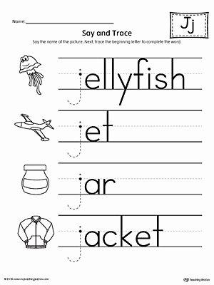 Letter J Worksheets for Preschool Free Say and Trace Letter J Beginning sound Words Worksheet
