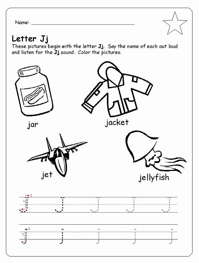 Letter J Worksheets for Preschool Fresh Letter J Worksheet for Kindergarten Preschool and 1 St Grade