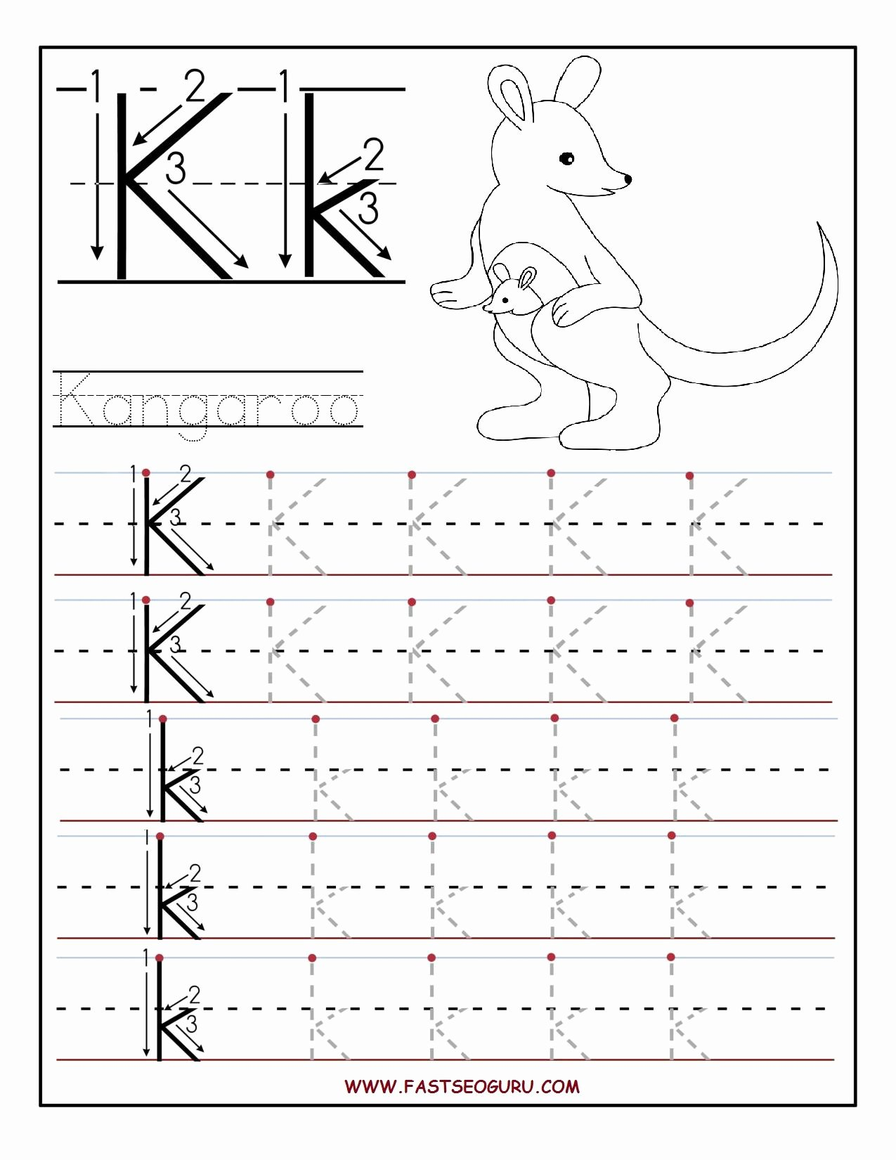 Letter K Tracing Worksheets Preschool Best Of Printable Letter K Tracing Worksheets for Preschool
