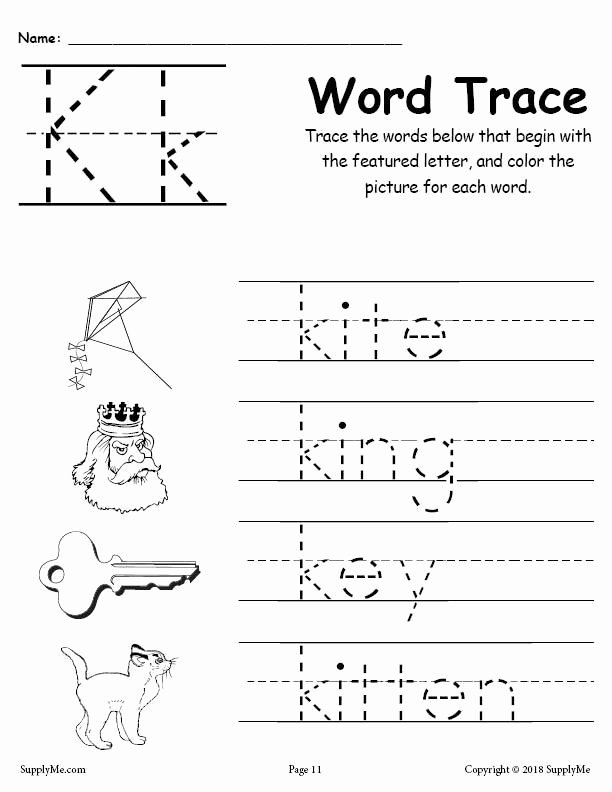 Letter K Tracing Worksheets Preschool Printable Letter K Words Alphabet Tracing Worksheet
