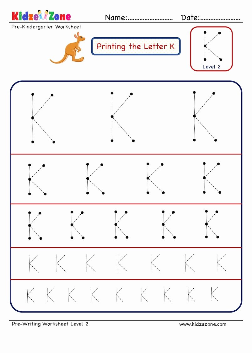 Letter K Tracing Worksheets Preschool top Preschool Letter Tracing Worksheet Letter K Different