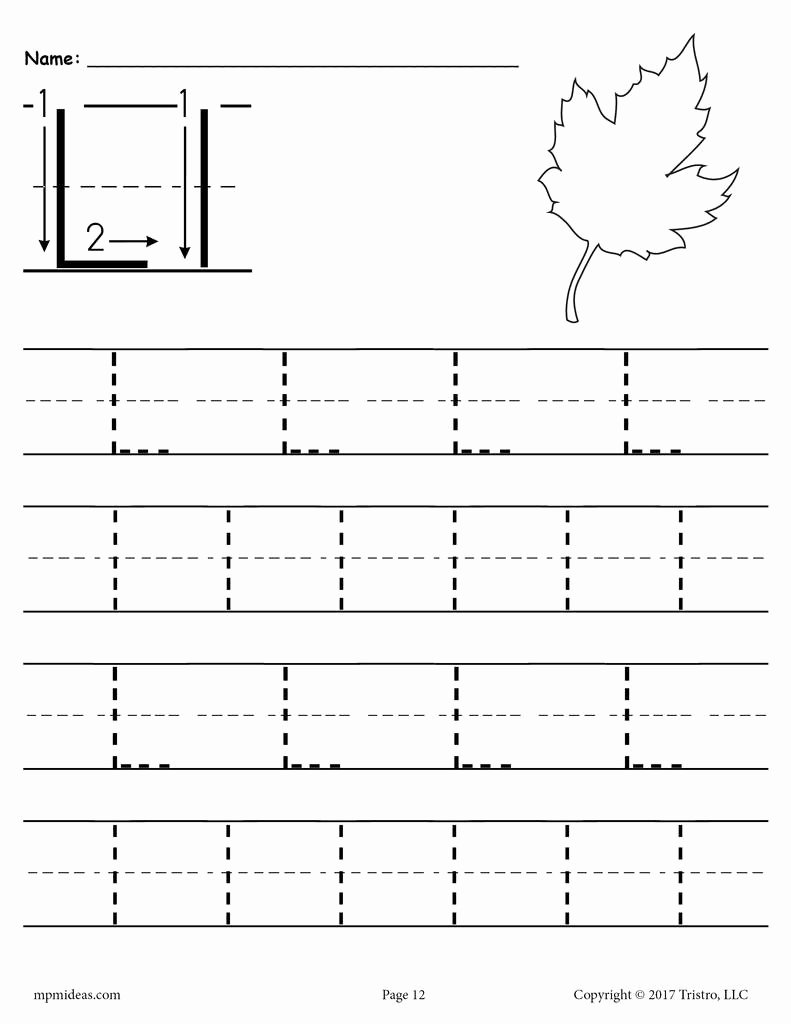 Letter L Worksheet for Preschool Ideas Printable Letter L Tracing Worksheet