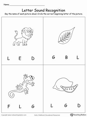 Letter L Worksheet for Preschool New Recognize the sound Of the Letter L