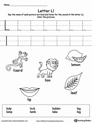 Letter L Worksheets for Preschool Best Of Words Starting with Letter L
