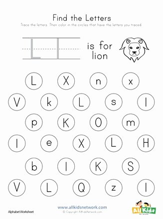 Letter L Worksheets for Preschool Lovely Find the Letter L Worksheet